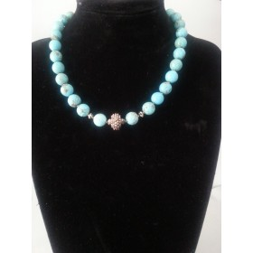 Turquoise and Swarovski with gold covered beads set